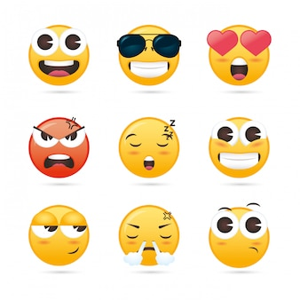 Group of emojis faces funny characters