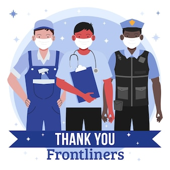 Group of essential workers illustrated with thank you message