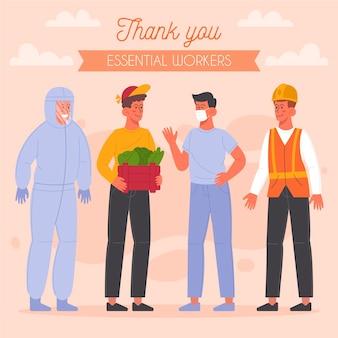 Gruppo di lavoratori essenziali illustrato con messaggio di ringraziamento