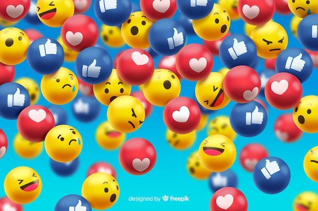 Group of facebook emoticon reactions