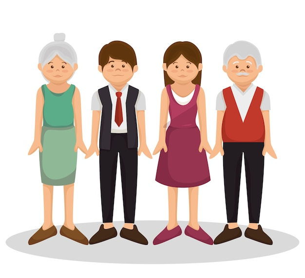 グループの家族のメンバーのキャラクターのイラスト