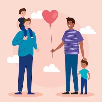 Группа отцов с детьми аватарного характера