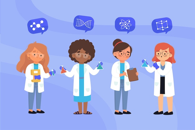 Group of female scientists illutration