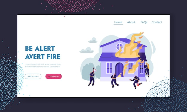 Group of firemen fighting with blaze at burning house. team extinguishing big fire, crying to megaphone, carry water saving dog website landing page, web page. cartoon flat vector illustration