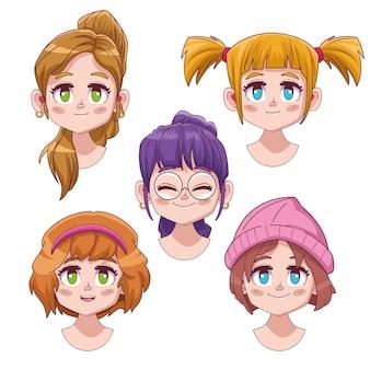 Group of five cute girls manga anime characters  illustration