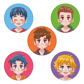 Group of five cute youngs boys teenagers manga anime characters  illustration