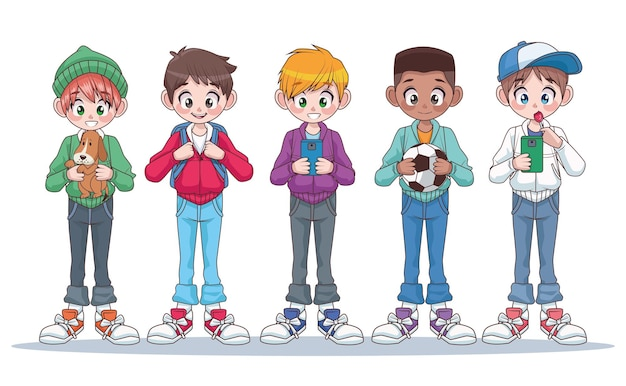 Group of five young interracial teenagers boys kids characters  illustration