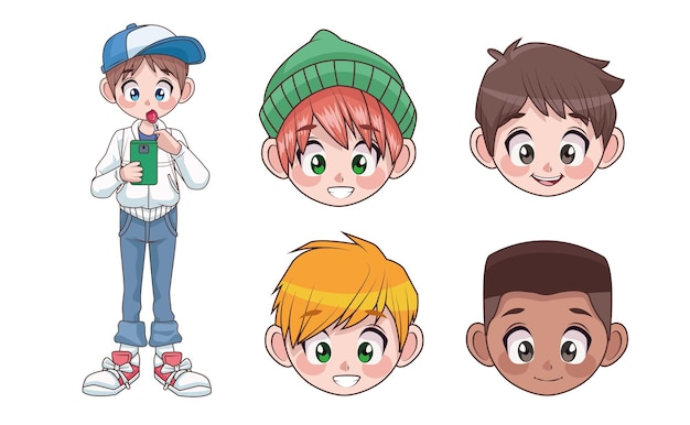 Group of five young interracial teenagers boys kids heads characters  illustration