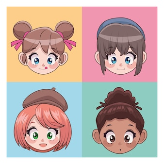 Group of four beautiful interracial teenagers girls anime head characters  illustration
