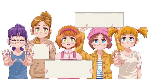 Group of four cute girls manga anime  illustration