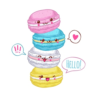 Group of four cute kawaii macarons.