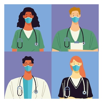 Group of four doctors medical staff characters