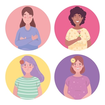 Group of four girls interracial avatars characters  illustration