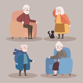 Group of four grandparents seated in sofas characters vector illustration design