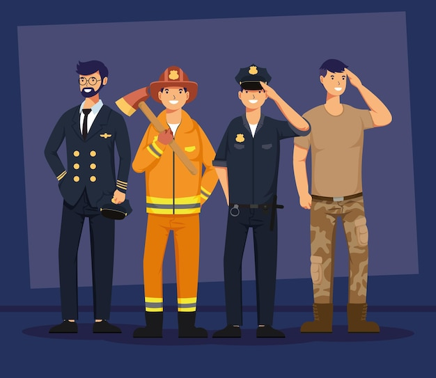 Group of four male workers professions avatars characters