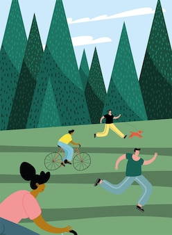 Group of four persons practicing activities in the park illustration design