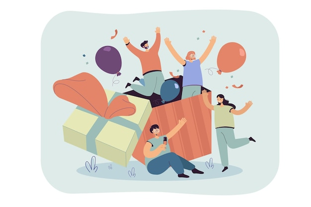 Group of friends celebrating birthday, jumping out of gift box with confetti and balloons. cartoon illustration