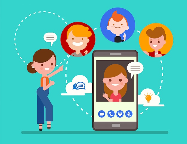 Group of friends chatting online by video call app with smartphone. social media technology concept illustration. flat design style cartoon character.