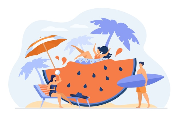 Group of friends enjoying summer activities, having fun at beach or pool party, drinking cocktail, floating with rubber ring on huge watermelon slice. vacation, travel, leisure concept.