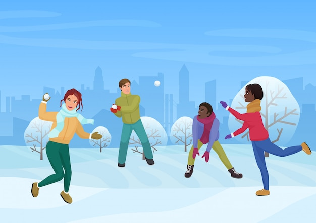 The group of friends playing the snowballs