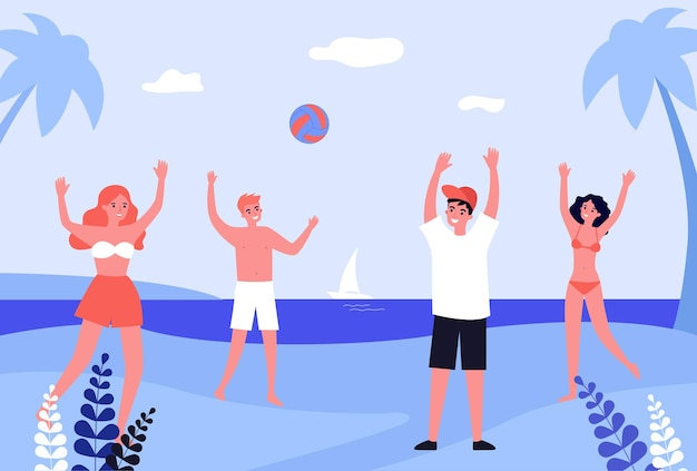 Group of friends playing with ball on beach. people in swimming suits on seashore flat vector illustration. summer, vacation, outdoor activity concept for banner, website design or landing page