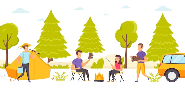 Group of friends spend time at forest campsite or camping