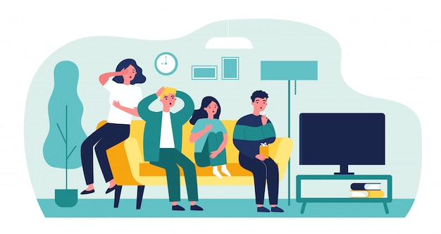 Group of friends watching scary movie   illustration