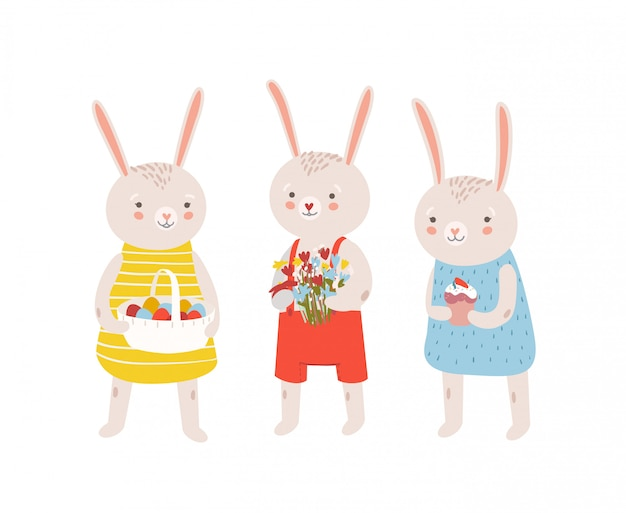 Group of funny adorable bunnies or rabbits holding traditional easter gifts - basket with decorated eggs, flower bouquet, kulich. flat cartoon illustration for religious holiday celebration.