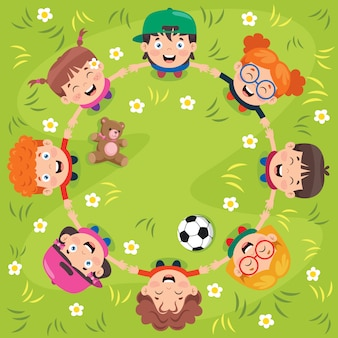 Group of funny children playing