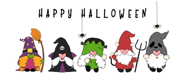 Group of funny halloween gnome in character costume happy halloween banner flat cartoon hand drawn
