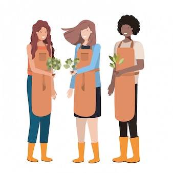 Group of gardeners avatar character