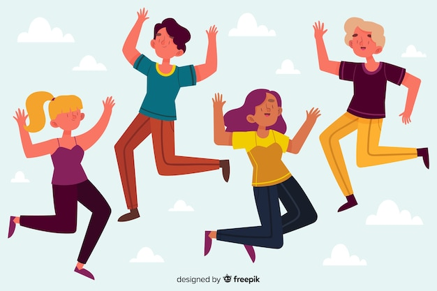 Group of girls jumping together illustrated