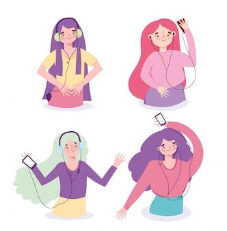 Group girls listening music with smartphone through earphones  illustration