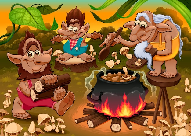 A group of gnomes are cooking mushroom soup. .