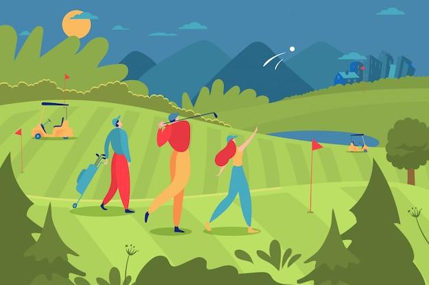 Группа игроков в гольф люди характер мужской женский, играя в гольф роскошный спорт мультфильм иллюстрации. большой удар ударной тренировки экологического ландшафта.