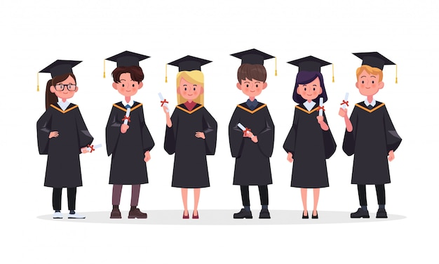 Group of graduating students standing together illustration.