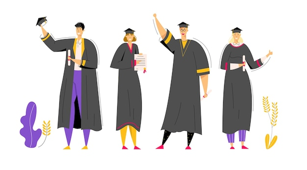 Group of graduating students with diploma. man and woman characters graduation education concept. university student college graduate.