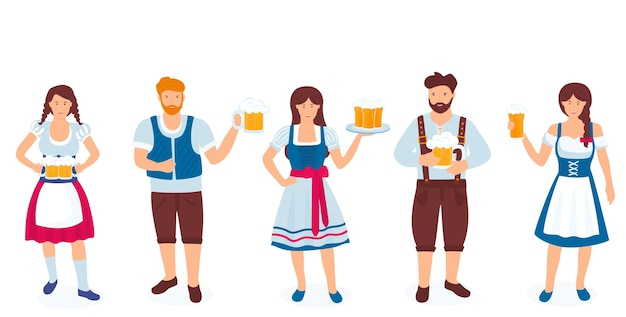 A group of guys and girls in national german costumes are holding glasses of beer celebration of okt