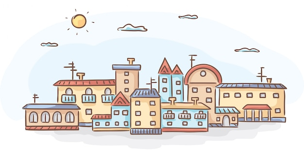Group of hand-drawn houses