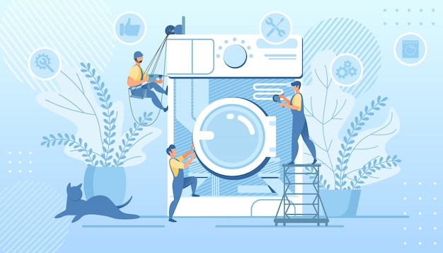 Group handymen fixing huge broken washing machine
