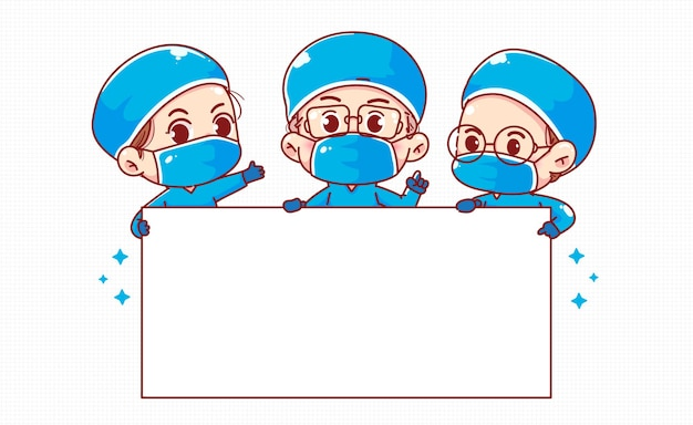 Group of happy doctors holding white blank board illustration