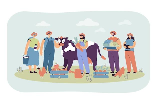 Группа счастливых фермеров, содержащих коров и птицу, собирая урожай, держа ящики с фруктами и овощами. иллюстрации шаржа