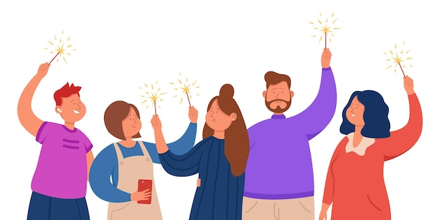 Group of happy friends standing with sparklers in hands. office team celebrating success together flat vector illustration