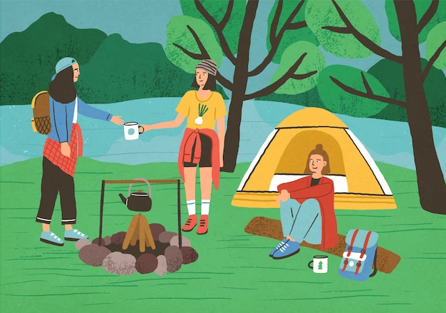 Group of happy girls, female tourists or backpackers sitting and standing beside campfire and tent. camping in forest, adventure tourism, backpacking, bushcraft. flat cartoon illustration.