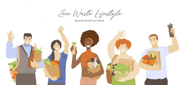 Group of happy joyful multiracial people holding zero waste ecological recycle and reduce products, waving hands, showing ok sign. zero waste lifestyle concept with eco friendly people