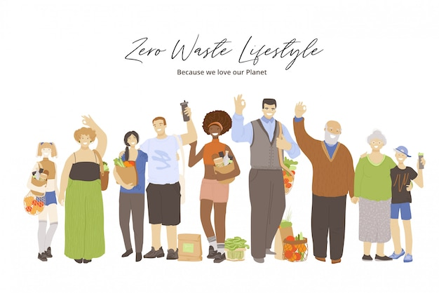 Group of happy joyful people holding zero waste products in hands - bags, kitchen and beauty produts, and showing ok sign. zero waste lifestyle concept with group of people