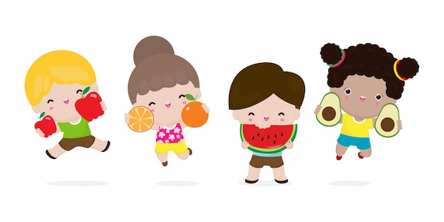 Group of happy kids jumping and fruits, cute cartoon children eating avocado, apple, watermelon, orange, child holding smiling live fruits, healthy food in the farm isolated on white background
