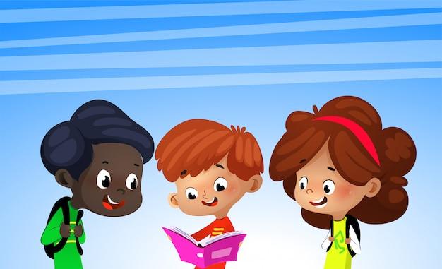Group of happy kids reading books, illustration