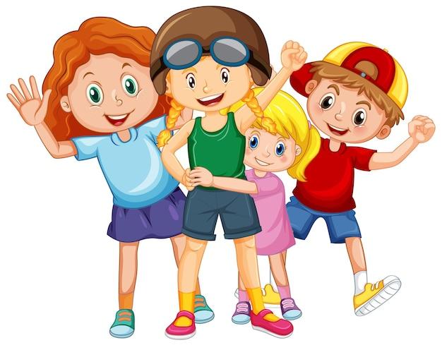 Gruppo di bambini felici su sfondo bianco