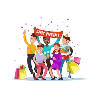 Группа счастливых многорасовых людей празднование дня рождения вместе.